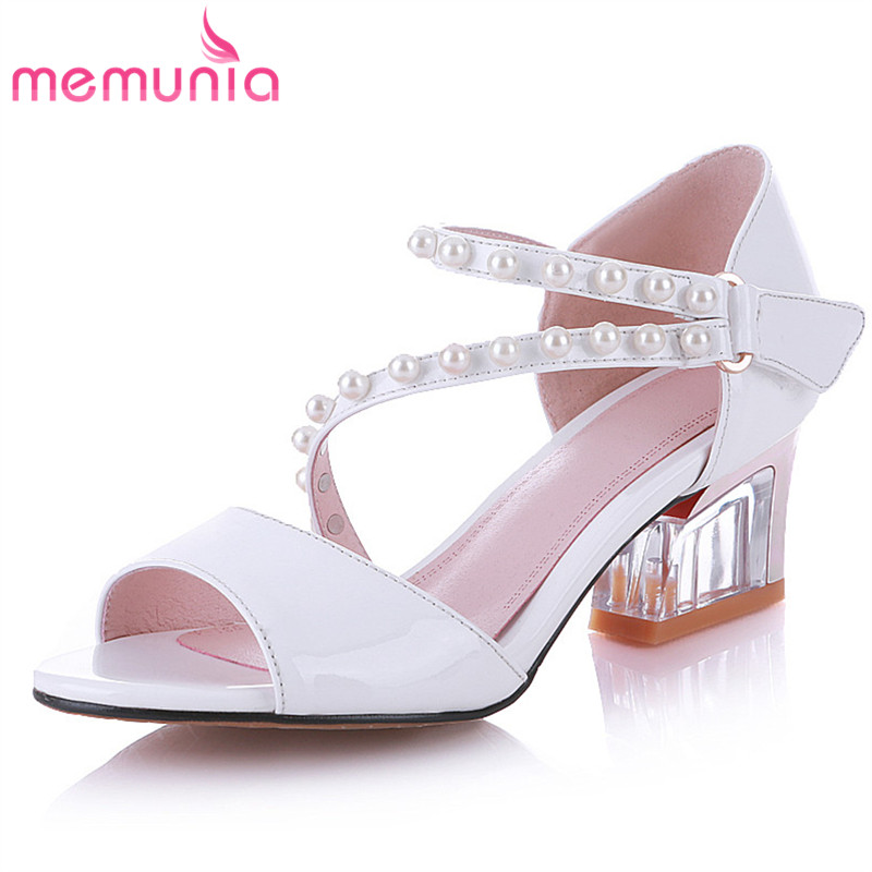 MEMUNIA 2018 sweet summer women sandals genuine leather top quality shoes classic elegant fashion leisure shoes woman