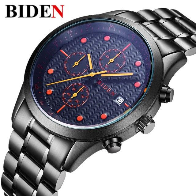 3b85ae30888e Nueva Moda BIDEN Top Marca Impermeable del Acero Inoxidable Hombres Del  Reloj Del Calendario de Cuarzo