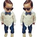 2015 Nueva Primavera Otoño niños ropa de Bebé establece familia niños Gentleman ropa sport suit 2 unids ropa de los cabritos Envío gratis