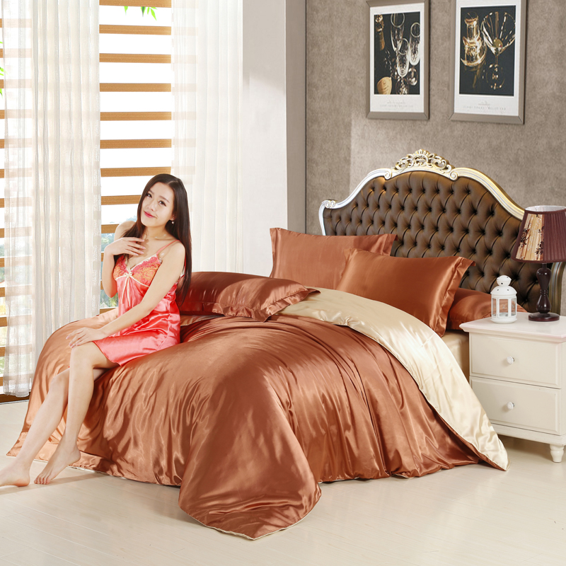 silk satin bedding set solid color bed linen coffee and camel duvet cover set soft tencel flat sheet 3pcs or 4pcs in bedding sets from home u0026 garden on