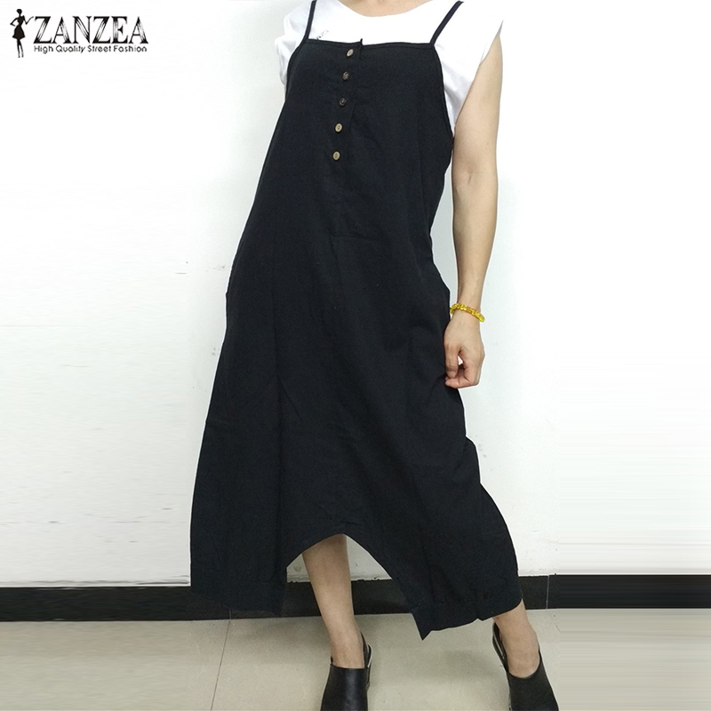 Fashion Summer Dungarees ZANZEA Women Strappy Loose Drop Crotch Jumpsuits Casual Buttons Solid Rompers Bib Overalls Vestido