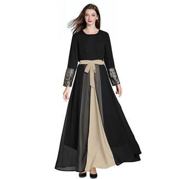 Vestido gasa bordado negro