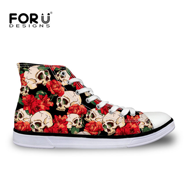 FORUDESIGNS Hot Punk Skull Printed Women Canvas Shoes Classic Lace-up Vulcanize Shoes for Ladies Fashion Female High Top Shoes