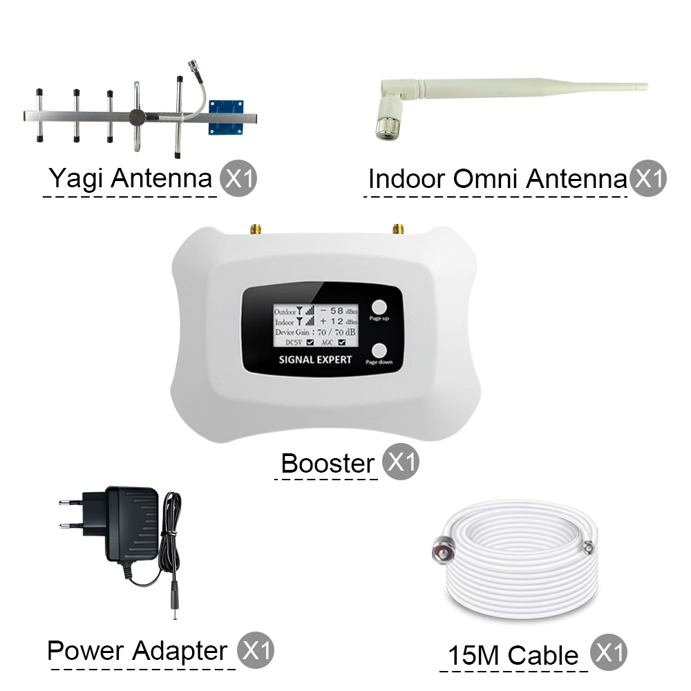 250 sqm ATNJ 70dB Gain GSM 850 Moblie Phone Repeater 3G CDMA 850MHz Smart Signal Amplifier 2G 3G Cellular Signal Booster Kit in Signal Boosters from Cellphones Telecommunications