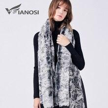 VIANOSI 100% Wool Scarf Luxury Brand Real Fur Scarf Shawl collar Women Winter Scarves Fashion Natural Rabbit Thick Poncho VA203