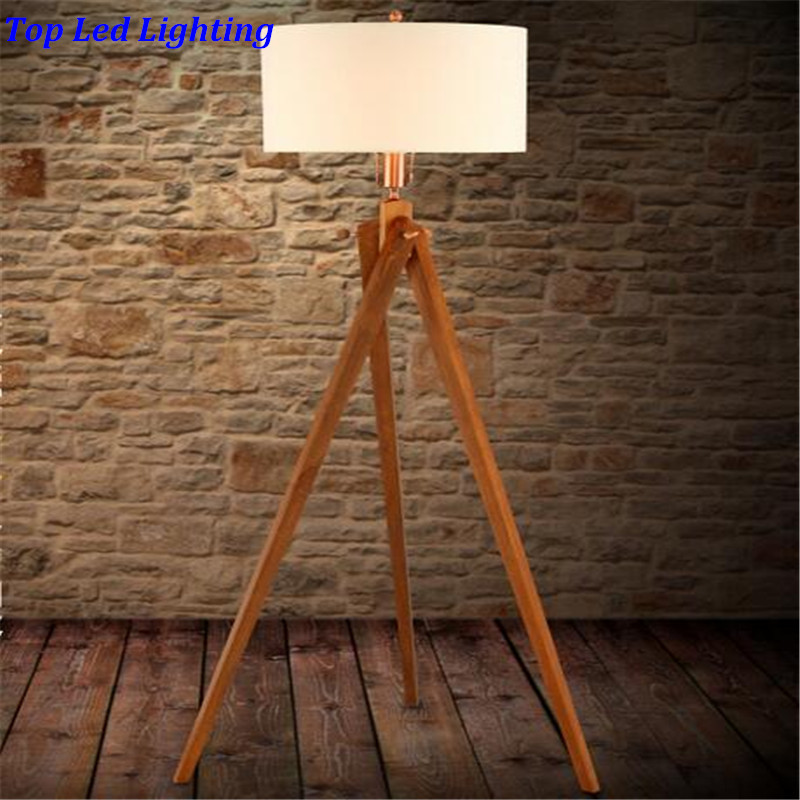 Country fabric wood 3 legs floor lamp for living room for Floor lamp wooden legs