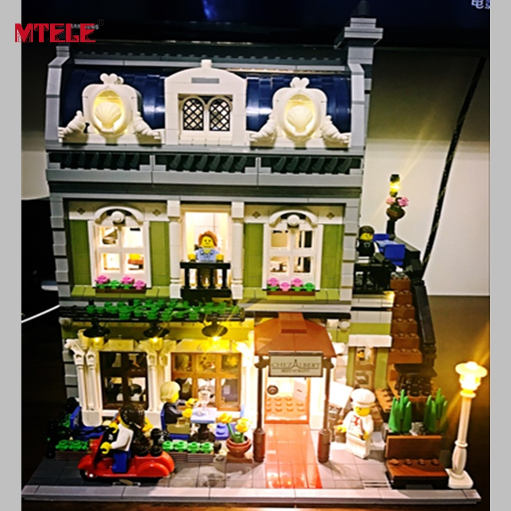 MTELE Brand LED Light Up Kit Toy For 15010 Compatile with Lego 10243 Creator Expert City Street Parisian Restaurant Model new lepin 15010 expert city street parisian restaurant model building kits blocks funny children toys compatible with 10243 gift