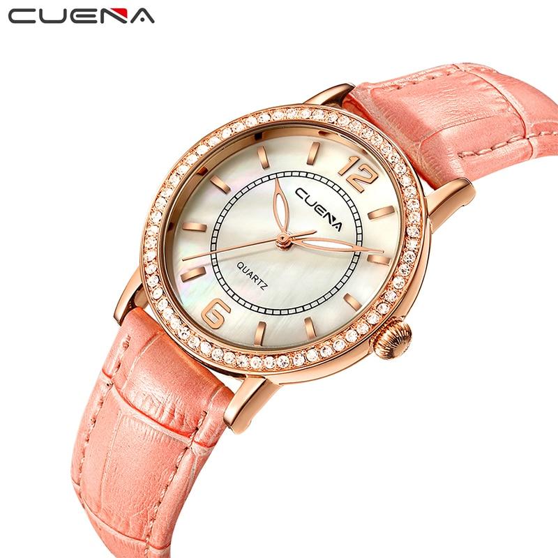 CUENA Fashion Women Watch Ladies Watches Top Brand Luxury Leather Waterproof Quartz Wristwatches Reloj Mujer Relogio Feminino