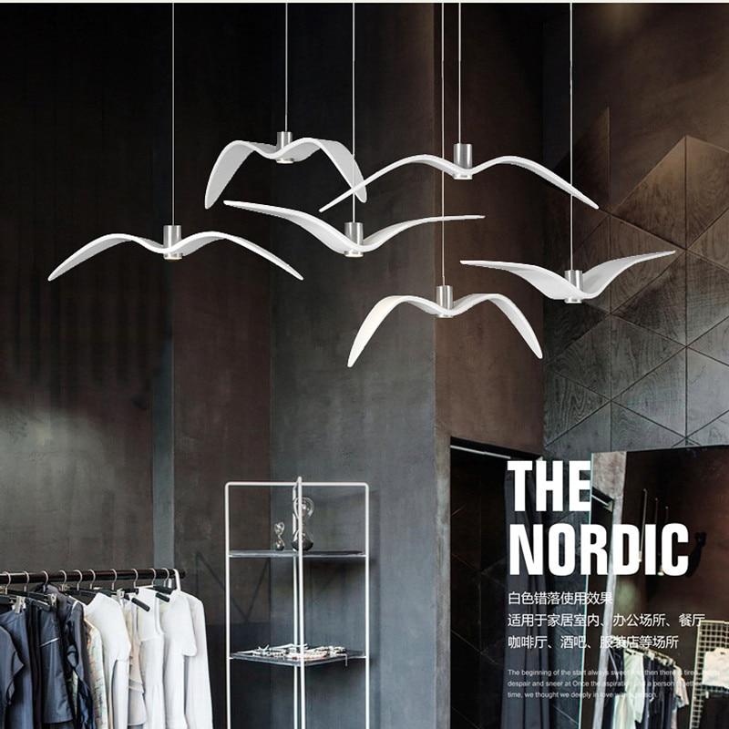 Nordic Loft Dinner Led Seagull Chandelier Art White Seagull Living Villa Hall Coffee Shop Suspension Light Fixtures