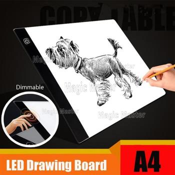 A4 LED Cartoon Light Tablet Pad USB Charging Copyboard Board Light Table Three-Dimmable Diamond Painting Cross Stitch tool