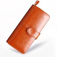 Women Wallet Female Genuine Leather Hasp Wallet Women S Long Design Stone Coin Purse Holders Retro