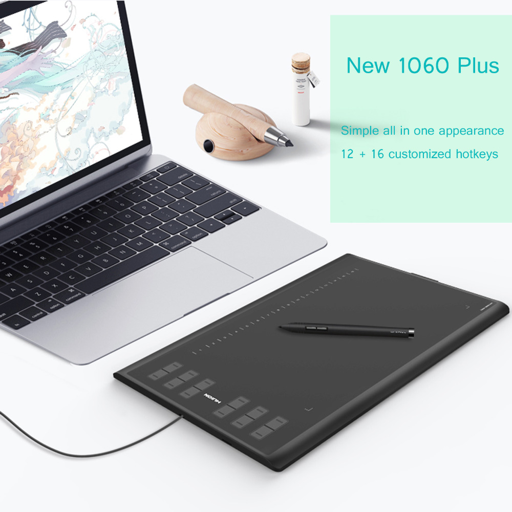 Huion New 1060 Plus USB Graphic Tablet 8192 Levels Pen 8G Micro Card 12 Keys Large Work Area for Windows Mac OS Glove Bag Gifts image