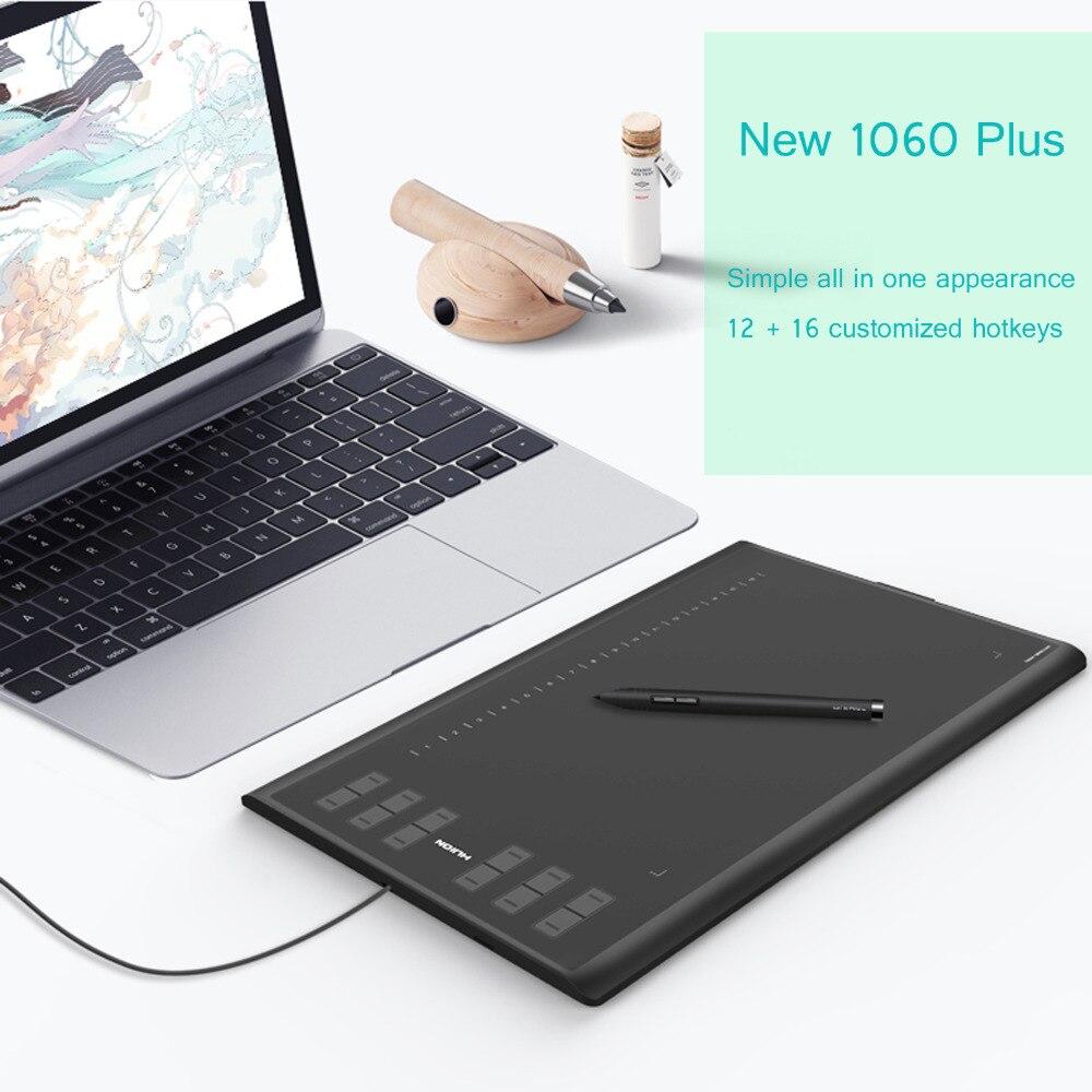 Huion nouveau 1060 Plus USB graphique tablette 8192 niveaux stylo 8G Micro carte 12 clés grande zone de travail pour Windows Mac OS gant sac cadeaux