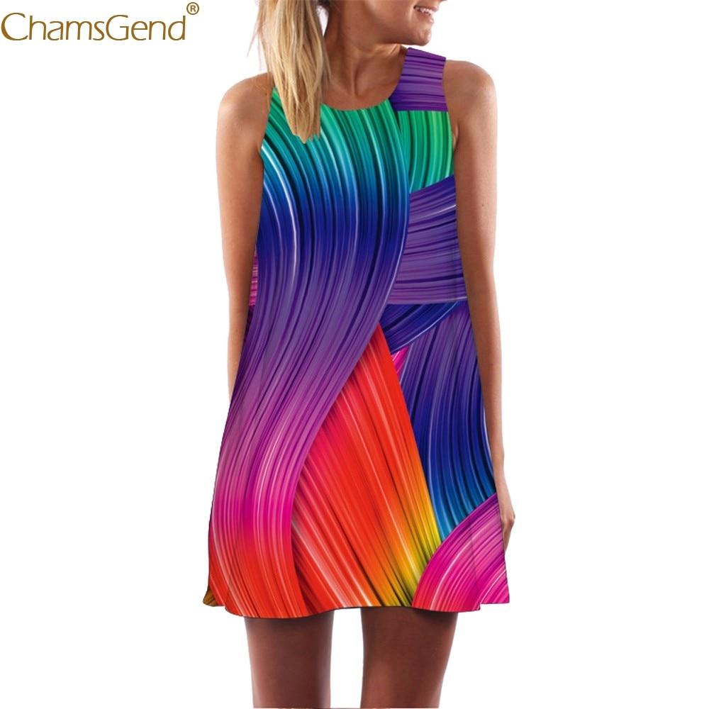 Fashion summer dress girl dresses woman party night  Vintage Boho Women Loose Summer Sleeveless elegant Print Bohe Tank Jun26