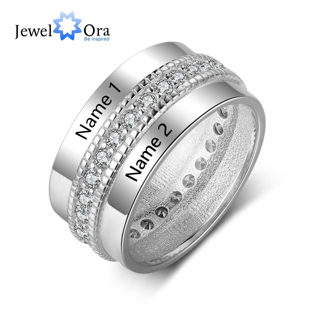 Personalizado moda Anel de Noivado Anéis para As Mulheres De Cobre Personalizado Gravado Nome do Amante Zircão Cúbico Jóias (Jewelora RI103505)
