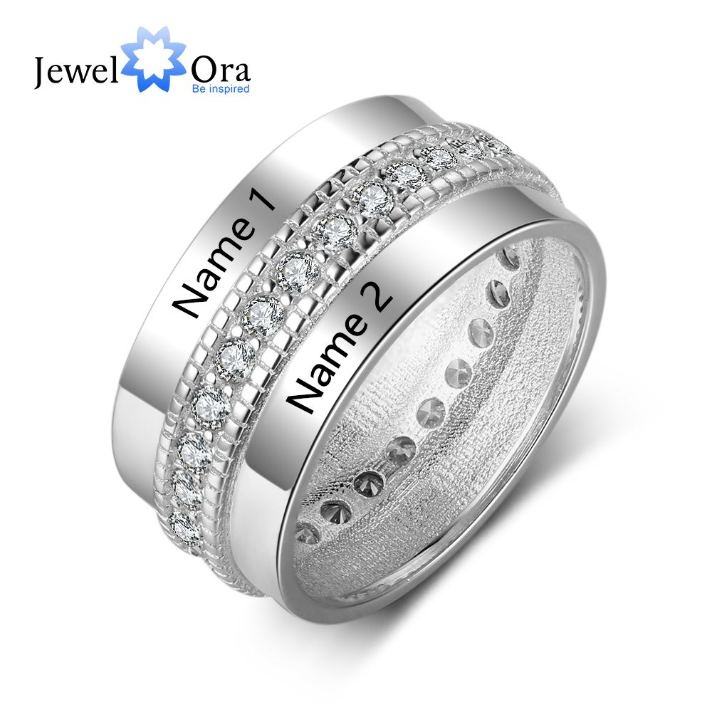 цены Fashion Personized Engagement Ring Copper Customized Rings Engraved Lover's Name For Woman Cubic Zirconia (Jewelora RI103505)