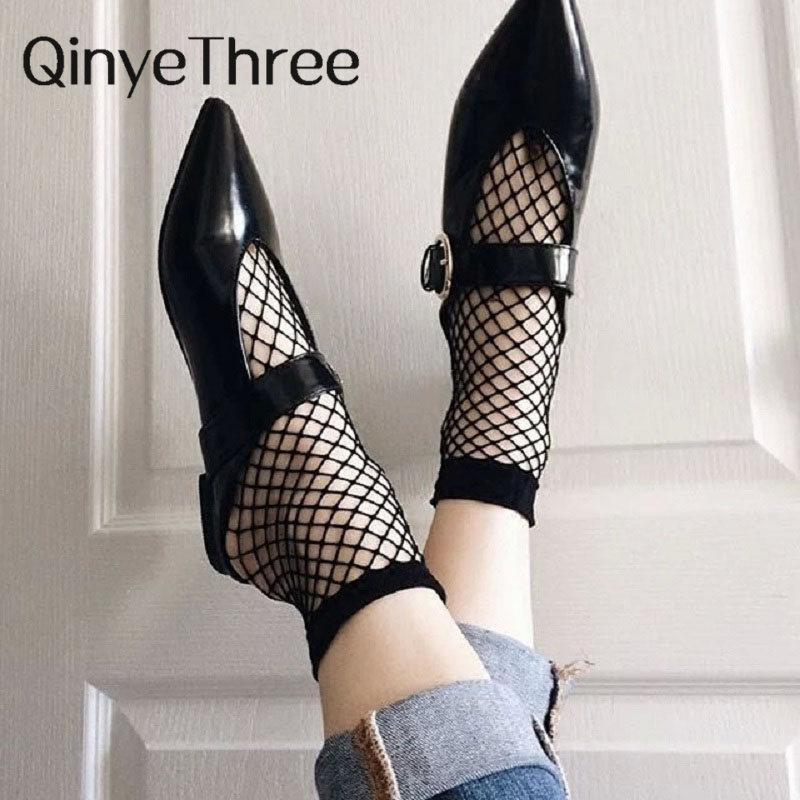 Cheap New Hot Sexy Wild Fishnet Eye Female Socks Female Socks Fishnet Hollow Thin Women Short Paragraph Hollow Fishnet Gift