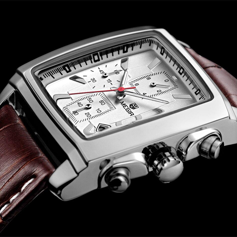e8cc78404429 MEGIR Relógio masculino Relojes Para Hombre de Primeras Marcas de Lujo de  Los Hombres Del Deporte Militar Luminoso Reloj Cronógrafo de Cuarzo Reloj  de Cuero .