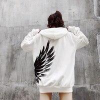 Winter2018 phoenix wings and hoodie women's loose hip hop hoodies