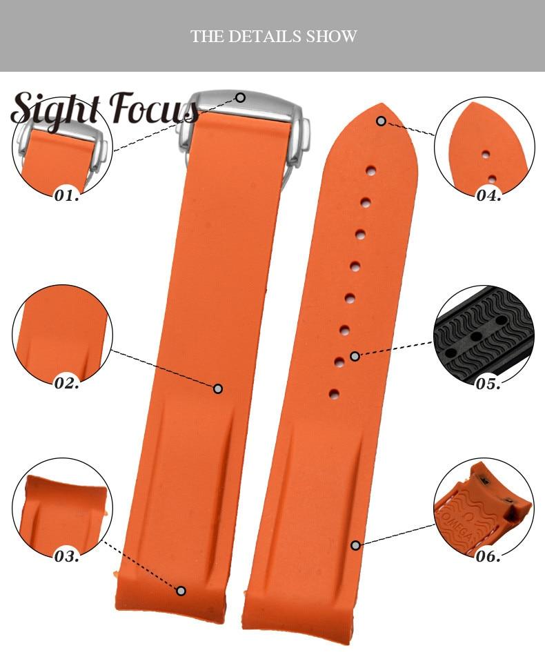 Image 2 - Pulseira de relógio de silicone de borracha para omega  speedmaster seamaster aqua terra correia de relógio 20mm 22mm masculino  pulseira de relógio laranjaPulseira do relógio