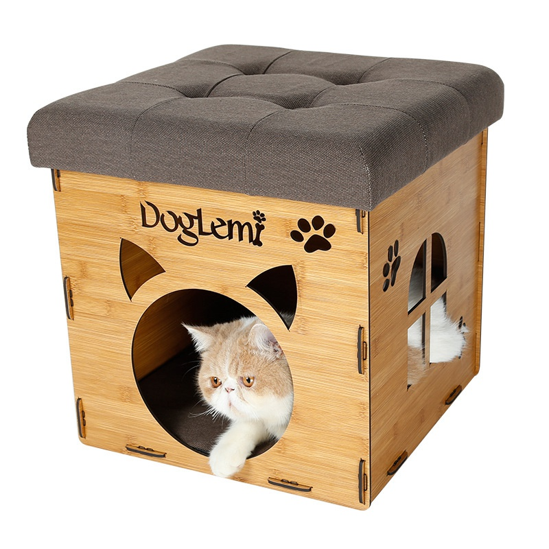 Hot Sale Cat Bed Hight Quality Kitten Kennel Square Cat Nest Foldable Cat Nest with Removable Mattress Unique Pet House