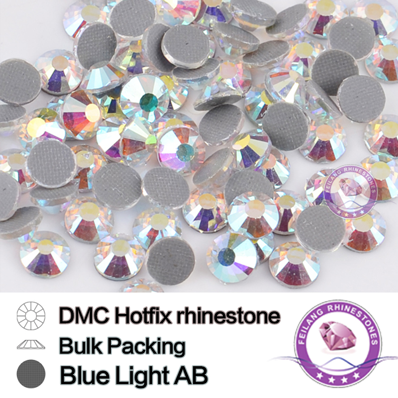 All Size DMC Big Package Blue Light Crystal AB Bulk Packing HotFix Rhinestone Wholesale For Clothes