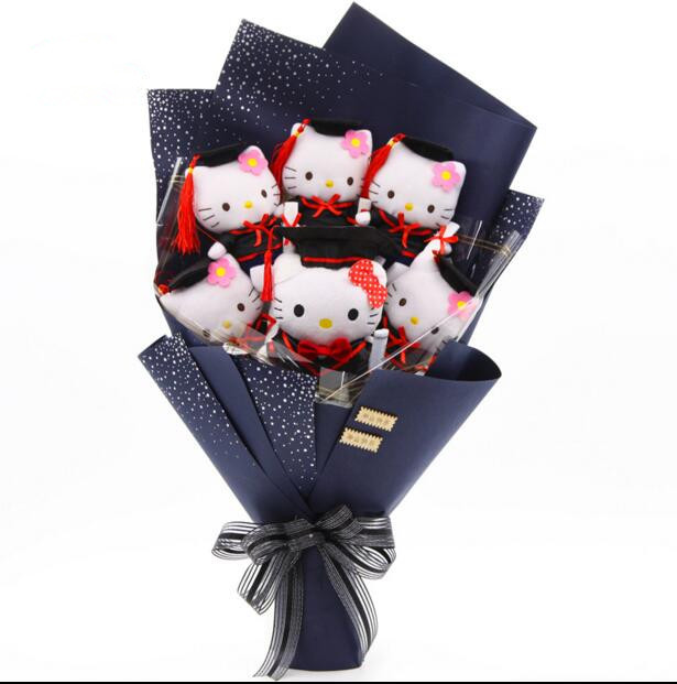 cartoon hello kitty doctoral hat graduation gift bouquet for
