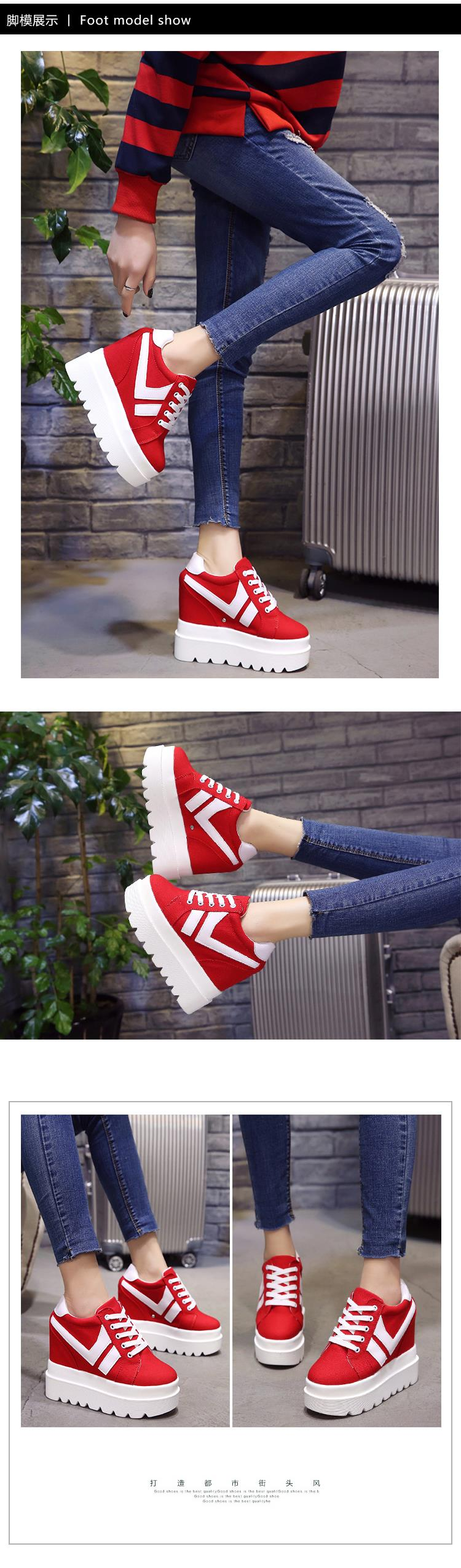Nice New Korean Fashion Wild Super High Heels Shoes Breathable Comfort Thick Bottom Casual Shoes Women Single Shoes 9