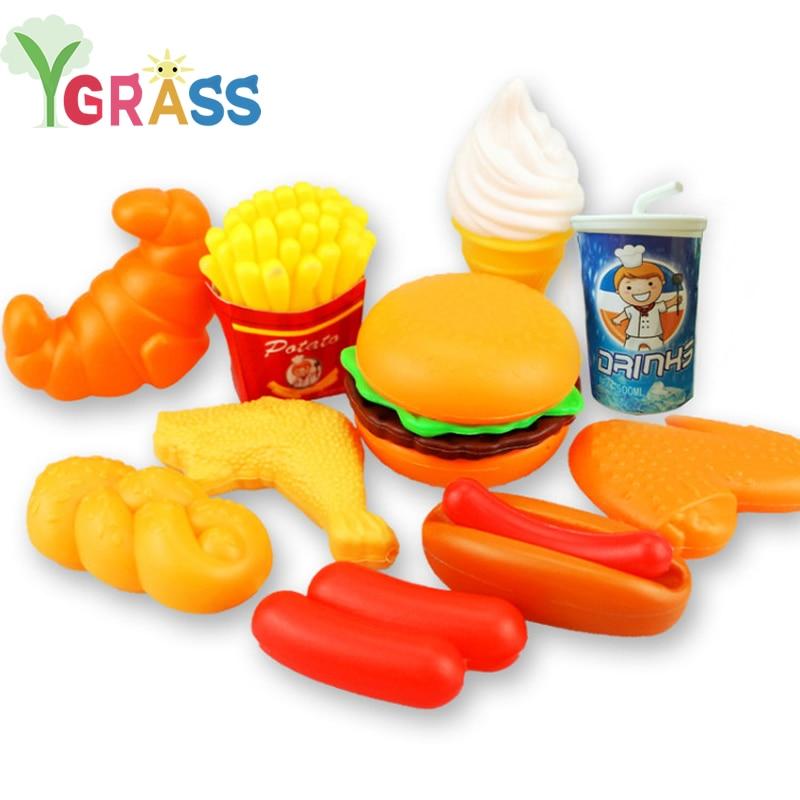 Kids Kitchen Set Girl Toys Pretend Play Mini Food Ice Cream Dinette Child Toy Fast Food Games Children's Kitchen Gifts