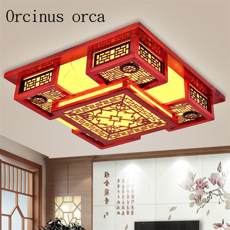 New Chinese Sheepskin Led Ceiling Lamp Living Room Restaurant Teahouse Study Modern Retro Solid Wood Ceiling Lamp