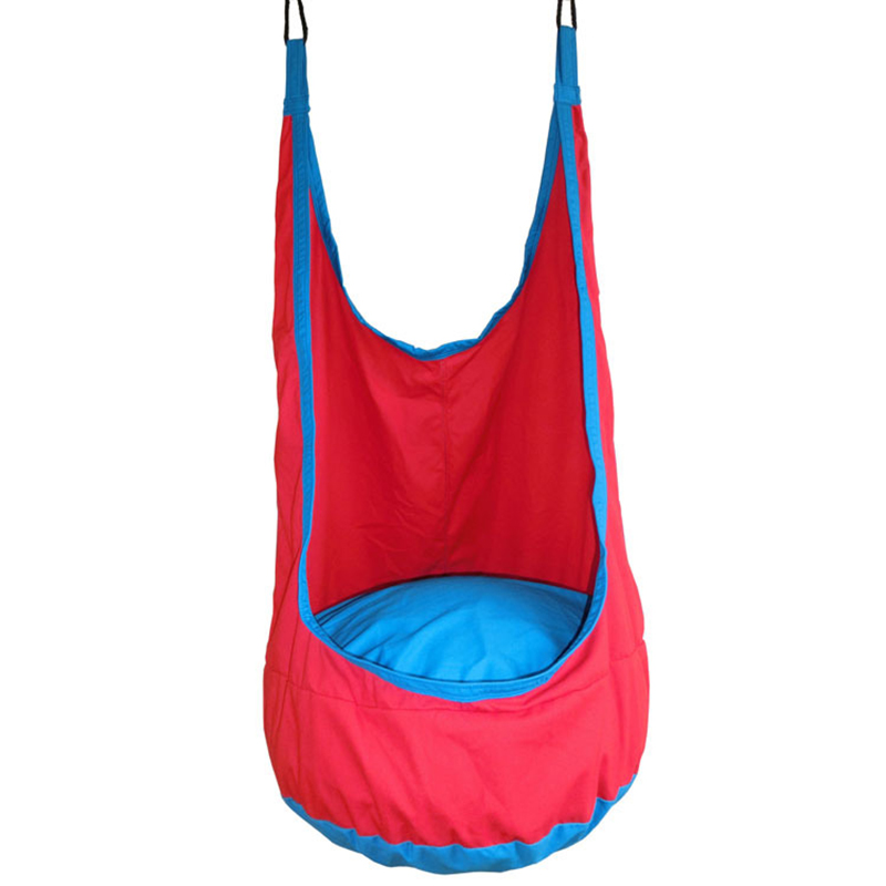 YONTREE 1 Pc Red Pod Children Swing Kids Hammock Indoor Outdoor Hanging Chair Free Shipping Freeshipping H1364Y2 garden swing for children baby inflatable hammock hanging swing chair kids indoor outdoor pod swing seat sets c036 free shipping