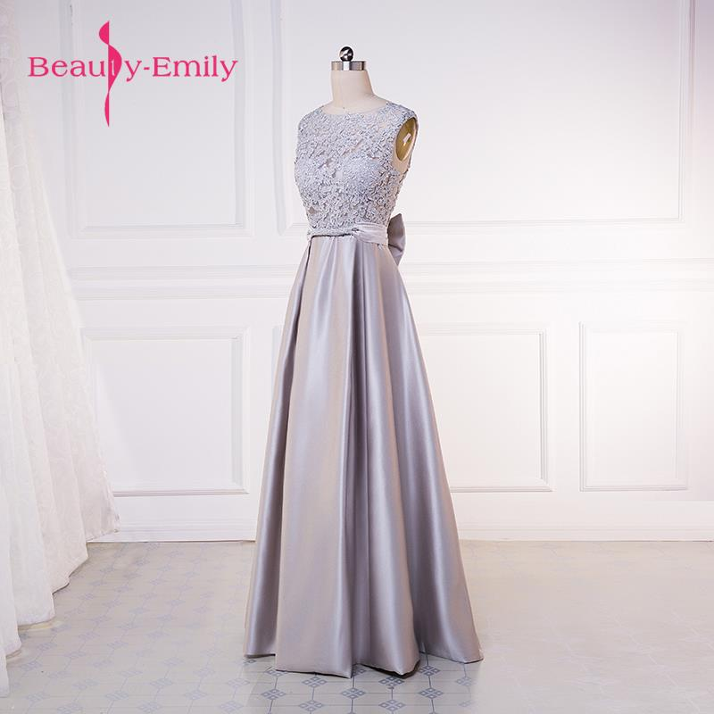 Beauty-Emily vestido de noche A-line Mother of the Bridal Dresses 2017 Wedding Prom Dress Zipper Bow Formal Occasion Dresses