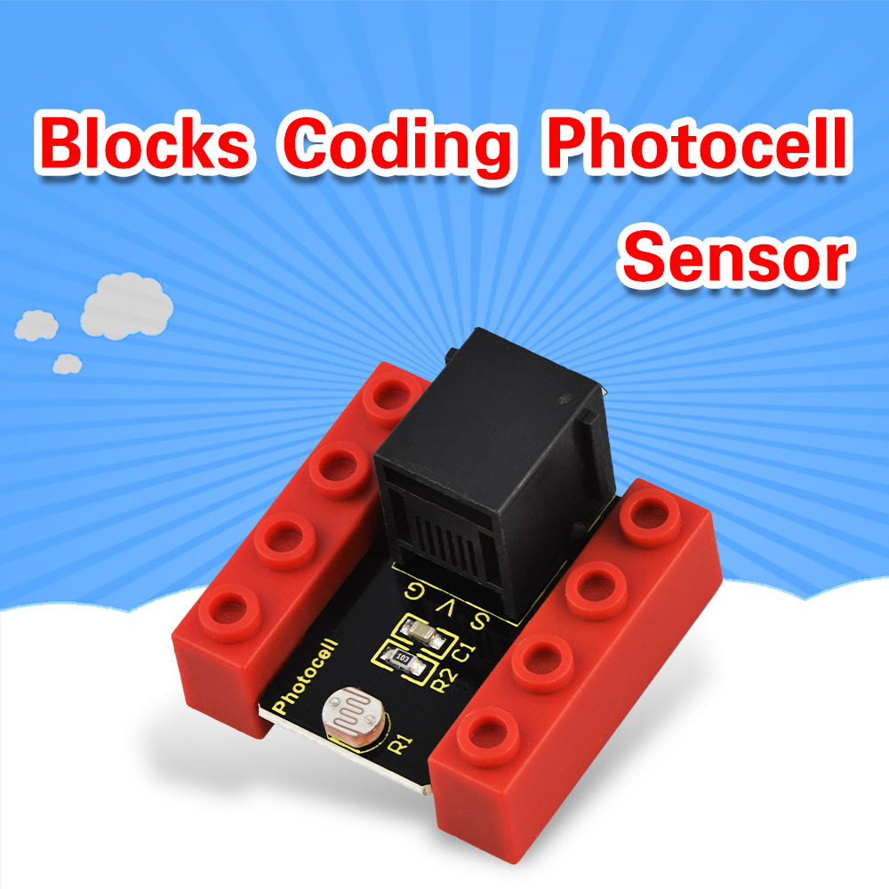 Kidsbits Blocks Coding Photocell Sensor Module For Arduino STEAM EDU (Black And Eco Friendly)