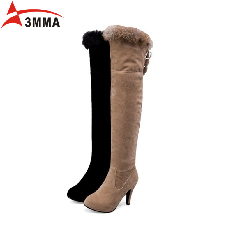 3MMA Sexy Over The Knee Thigh High Boots Large Size 2016 Winter Boots High Heels Fur Lace Up Boots Suede Women Booties Shoes