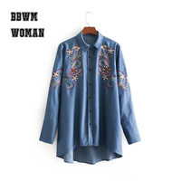 Retro Ethnic Embroidery Flower Women T Shirt Jeans Color Long Sleeve Turn Down Collar Female Shirts