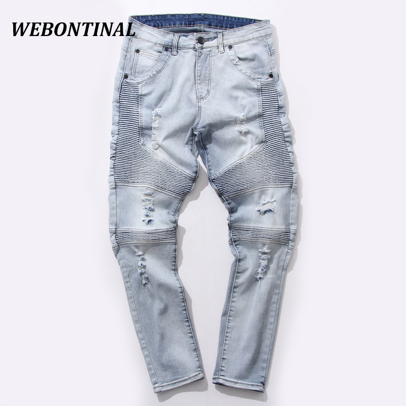 WEBONTINAL Fashion Trend New 2017 Adolescent's Men Biker Jeans Slim Fit Brand Quality Skinny Ripped Jeans Denim Hole Trousers 2017 fashion patch jeans men slim straight denim jeans ripped trousers new famous brand biker jeans logo mens zipper jeans 604