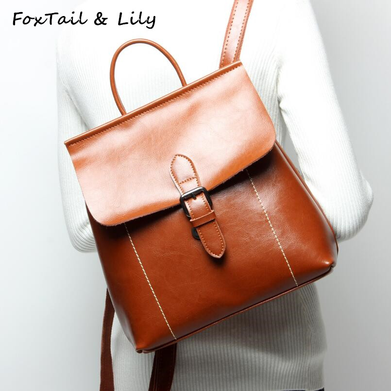 FoxTail & Lily Genuine Leather Fashion Backpack Shoulder Bag Women Oil Wax Cow Leather School Backpacks for Girls High Quality women s oil wax genuine cowhide leather backpack lady girl school bag crossbody shoulder travel bag for woman mr1037