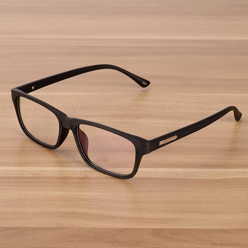 Retro Brillen Optische Rahmen Mit Klarglas Brille Holzimitat Rechteck - Bekleidungszubehör