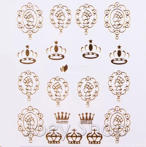 33 шт. золотой металлик ногтей наклейки bert дизайн ногтей или наклейки гвозди солист г серии декор дизайн ногтей украшения