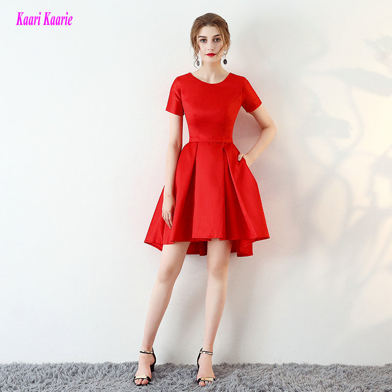 Simple Red Prom Dresses 2018 Sexy O Neck Satin Black Formal Prom