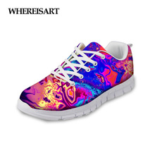 WHEREISART Fashion Women Painting Casual Shoes Flats Woman Breathable Spring for Ladies Flat Sneakers Zapatos de Mujer