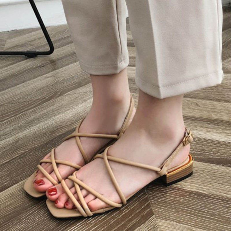 Moxxy Women Summer Gladiator Sandals Women Shoes Elegant Square Toe Women Low Heel Sandals Shoes Woman Ladies Sandals