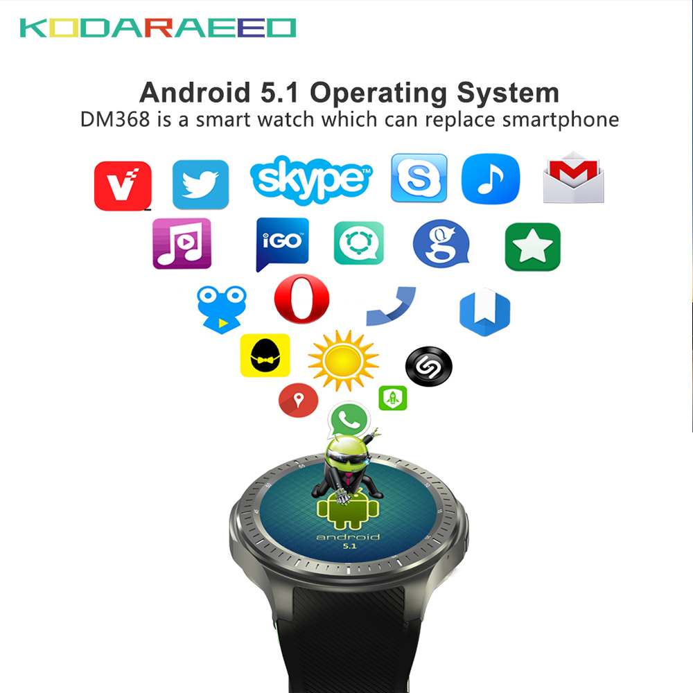 DM368 Smart Watch Andriod MTK6580 Quad Core Android Watch phone With SIM Card 3G WiFi GPS Bluetooth Heart Rate tracker Monitor new dm368 smart watch phone andriod mtk6580 quad core android watch 3g wifi gps bluetooth heart rate monitor smartwatch
