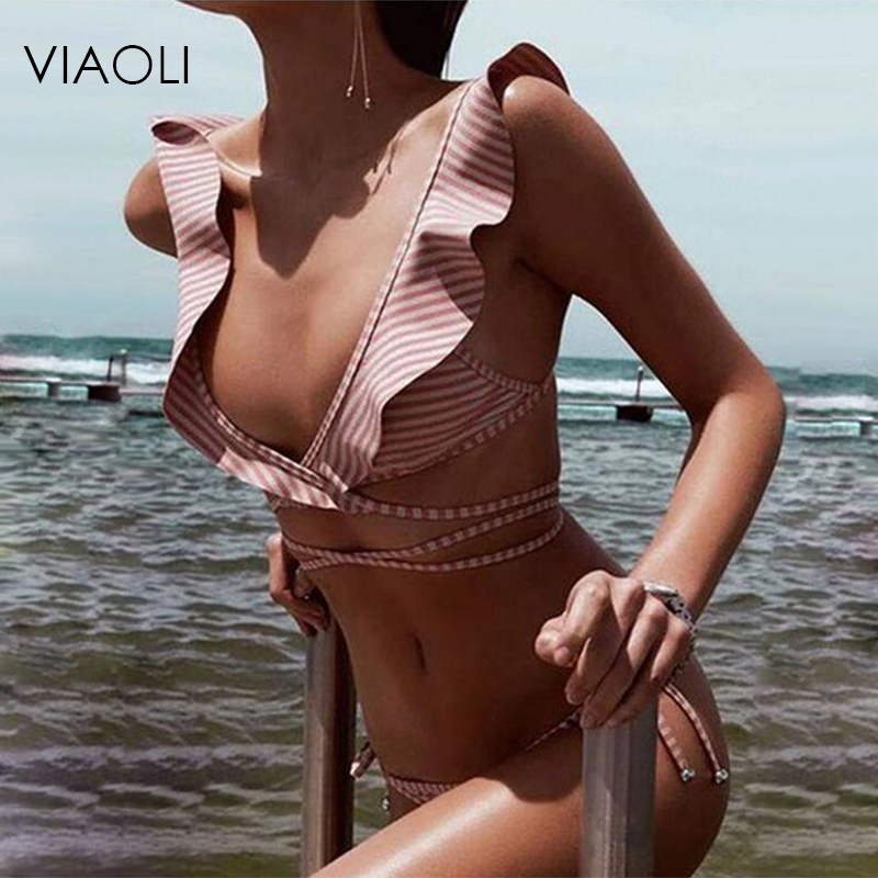 VAOLI New Striped Print Bathing Suit Brazilian Biquini Sexy Swimwear Bikinis Set Vintage Retro Swimsuit Bandage Swimwear Female