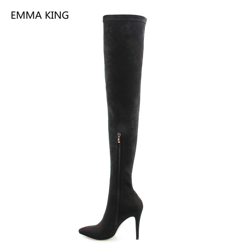 Solide Chaussettes Botas In Pointu Picture as Piste À As Stretch Haute Shown Femme Dames Bottes Picture Femmes Sur Bout Le En Talons Chaussures De Nouvelles Daim Genou wOHPnqxwR