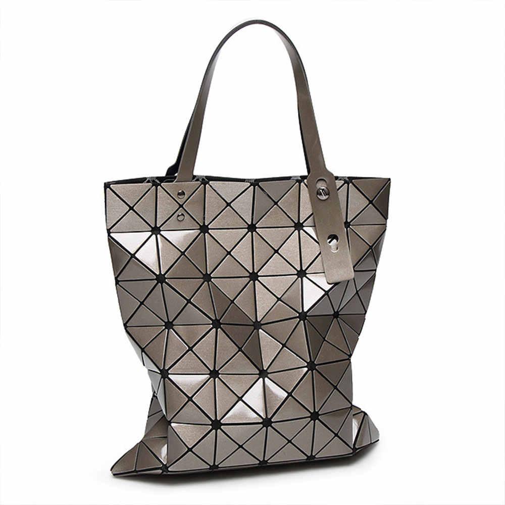 629d5e8d2295 Luxury Brand Designer Holographic Bag For Women Geometric Rhombus Ladies  Handbags Fold Over Laser Tote Bags