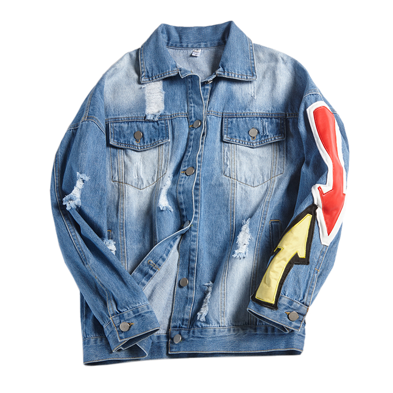 imbottiture Alla Allentato Blue Moda Delle Del Solido Turn Cappotti Le Denim Femminile Donne Per Collare Di Jeans Outwear Ricamo Foro Casual Blu Giacca SqFqpZn4