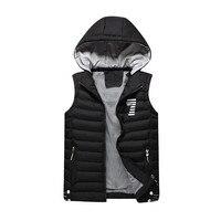 メンズジャケットノースリーブベスト冬スリムフィット帽子取り外し可能なチョッキ男