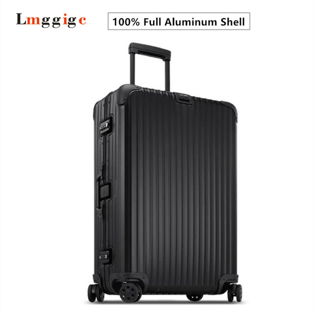 100% Full Aluminum Magnesium Alloy Trolley Luggage with Logo,Matte Suitcases,Rivet reinforced Roller Travel Bag Carry-Ons