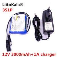 Bateria recarregável do lítio-íon de liitokala 12 v 3000 mah recargable y la c mara do cctv carregador de bateria + 1a